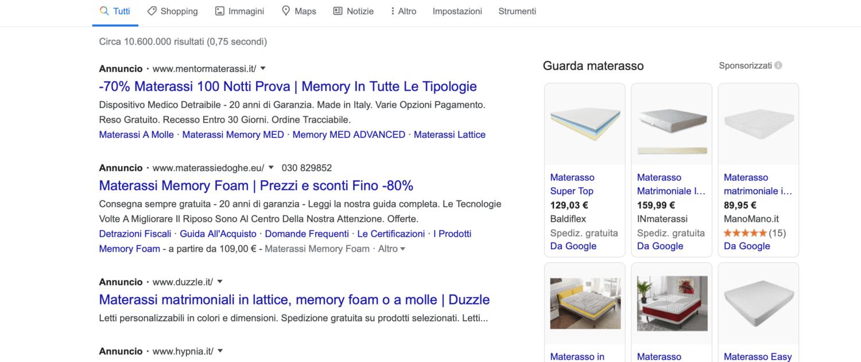 Ricerca keyword su google