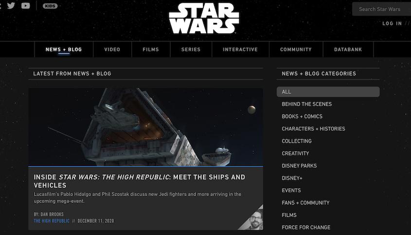 Realizzazione siti WordPress Star Wars Blog